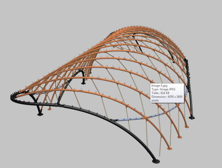 Yonkers Raceway Canopy Architectural Structure 3D Model, Assembly and Detail drawings Image 1