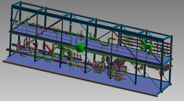 OTSG (Once Through Steam Generators) steam-water skid 3D model (2014) Image 1